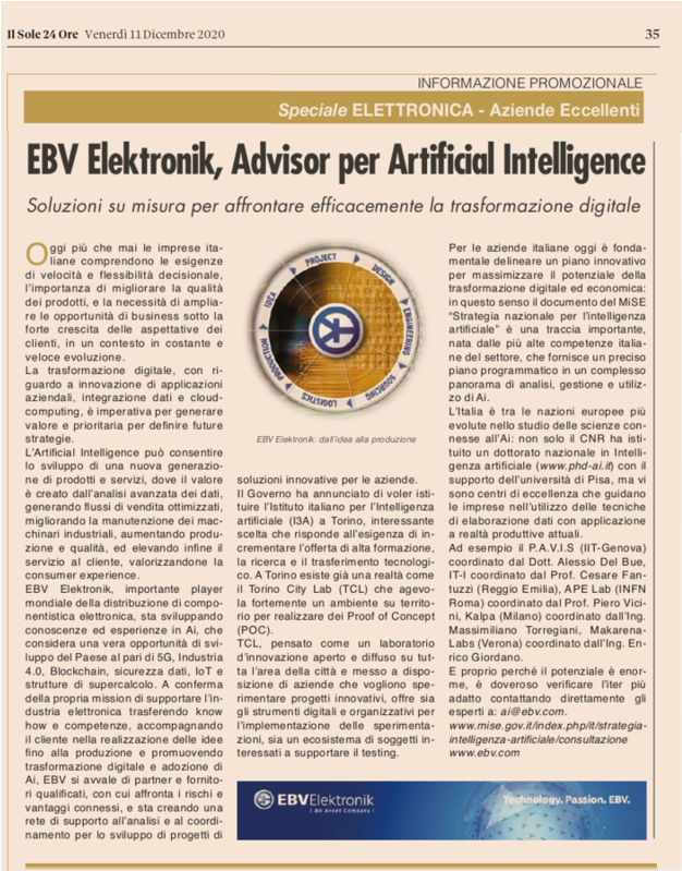 "Sole 24 Ore quote 11 December 2020 in the ""electronics special - excellent companies"" by EBV Elektronik, one of the centers of excellence"